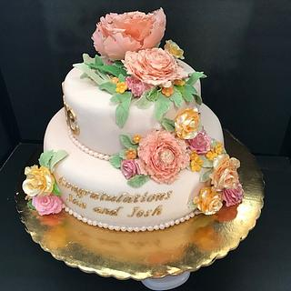 Peony Engagement Cake with Dachsund