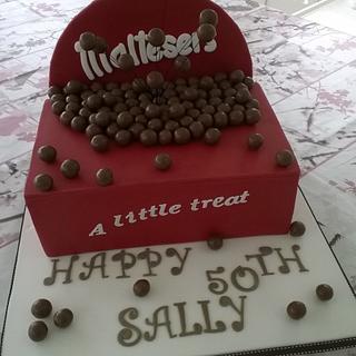 Box of Maltesers 50th Birthday Cake