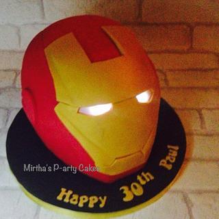 Iron man helmet cake (with light up eyes)  - Cake by Mirtha's P-arty Cakes
