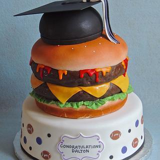 Cheeseburger Graduation Cake