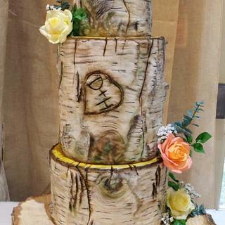Silver birch wedding cake