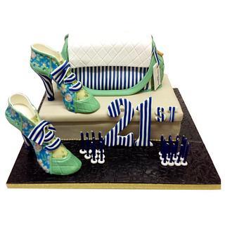 Designer handbag, shoes and shoe box