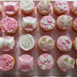 Baby Booties, Bows & Buttons Baby Shower Cupcakes