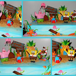 SpongeBob and Patrick under Bikini Bottom - Cake by Day