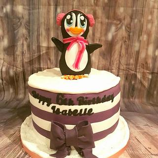 Winter wonderland penguin cake