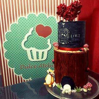 Tree bark / blackboard cake