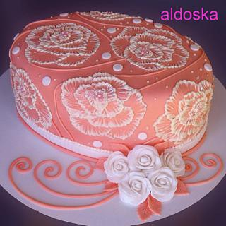 Orange oval with roses - Cake by Alena