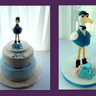 Christening Cake with a Stork