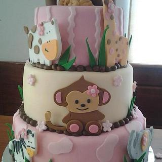 Baby animal shower cake