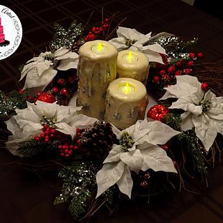 Christmas Candle Cake Center Piece