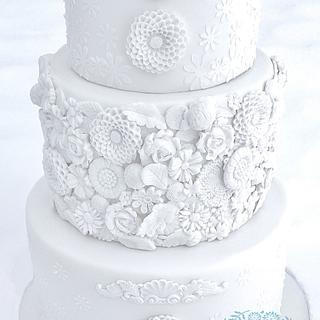 White on White Bas Relief Wedding Cake - Cake by Lauren Cortesi