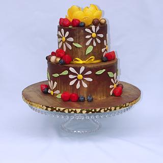 Chocolate cake with chocolate flowers