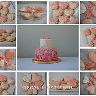Pink ombre cake and matching sugar cookies. - Cake by Leslie