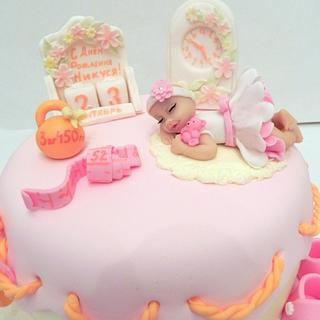 Cake first birthday hand modelling