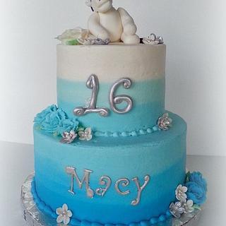 Sweet 16 Unicorn, Blue Buttercream Ombre