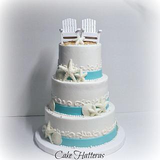Beach Wedding Cake Teal And White