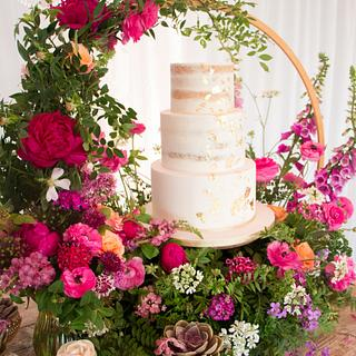 English country garden wedding cake