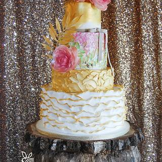 White, Gold and Dusky Pink Bohemian Cake