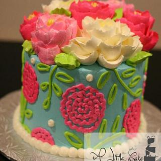 Buttercream Cake, Love bright colors and texture, Imagine with red carnations!!