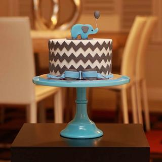 Little chevron elephant cake