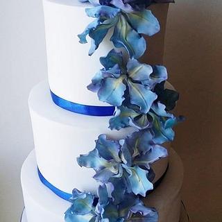 Blue Iris wedding cake