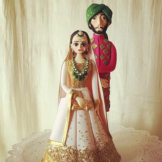 Indian bride and groom topper - Cake by The Hot Pink Cake Studio by Ipshita