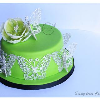 Green and silver butterfly lace cake