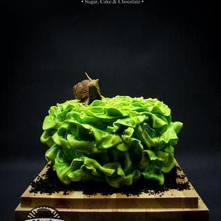 Salad Birthday Cake with sculpted snail