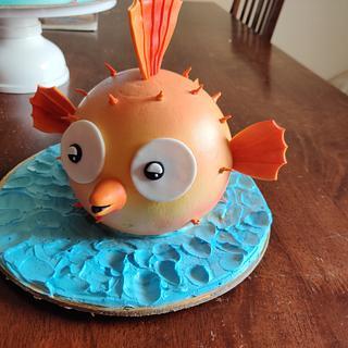 Whipped cream puffer fish - Cake by Varsha Bhargava