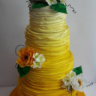Yellow ombre wedding cake  - Cake by Mariya Gechekova