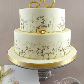 Hand Painted Golden Wedding Cake