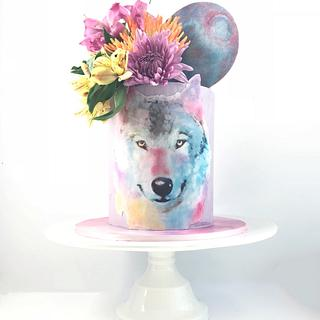 Watercolor Wolf Cake