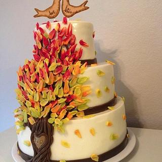 Fall time wedding cake