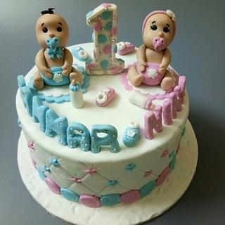 Birthday cake for twin babies