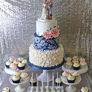 Navy & Ivory ruffle wedding cake/ dessert table