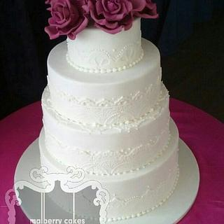 4 Tier lace wedding cake