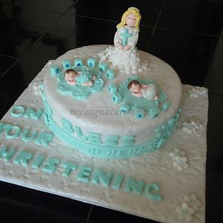 baptism cakes for twins.... - Cake by MySignatureCakes