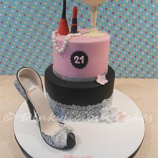 Stiletto and cocktail glass cake.