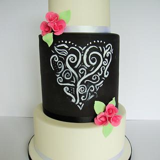Chalkboard wedding cake
