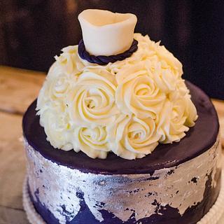 Bridal Shower Cake With Silver Leaf