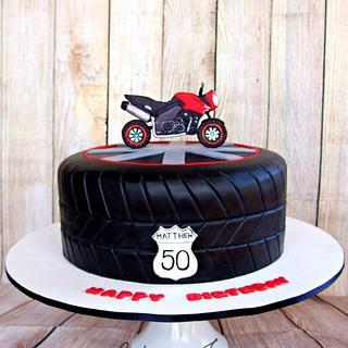 Motorbike tyre cake