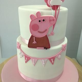 Peppa Pig 2nd birthday cake - Cake by Combe Cakes