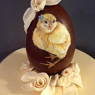 Painting on Chocolate - Chick a with flower in her feathers