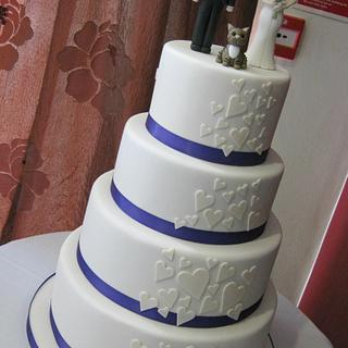 4 Tier Ivory & Purple Heart Cascade Wedding