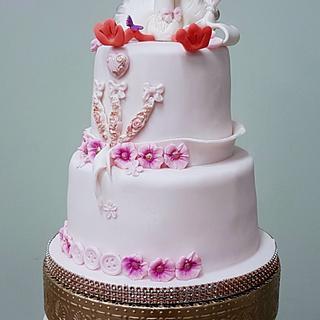 Babyshower cake posh stork - Cake by Judith-JEtaarten