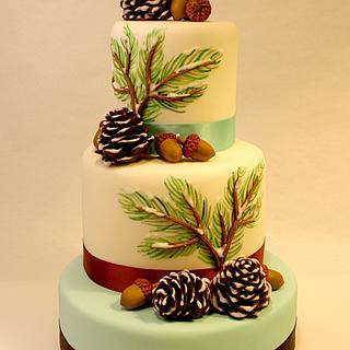 Winter Cake with pine cones and acorns.