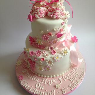 Baby bootie christening cake - Cake by Rachel Bosley