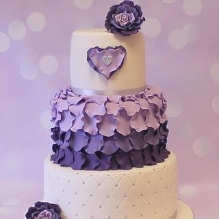 Three Tier Purple & Ivory Wedding Cake