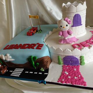 Hello Kitty, Disney Cars cake
