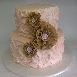 Pastel and Burlap Engagement Cake